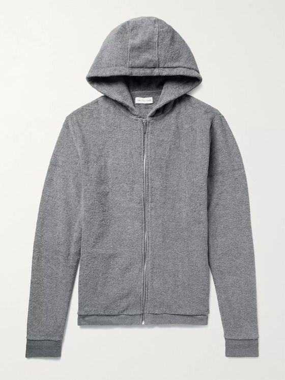 HAMILTON AND HARE Mélange Cotton-Terry Zip-Up Hoodie