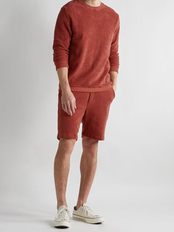 HAMILTON AND HARE Fleece-Back Cotton-Terry Drawstring Shorts