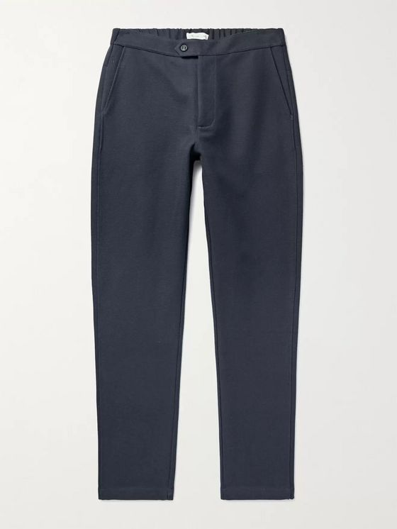 HAMILTON AND HARE Travel Tapered Cotton-Blend Jersey Trousers