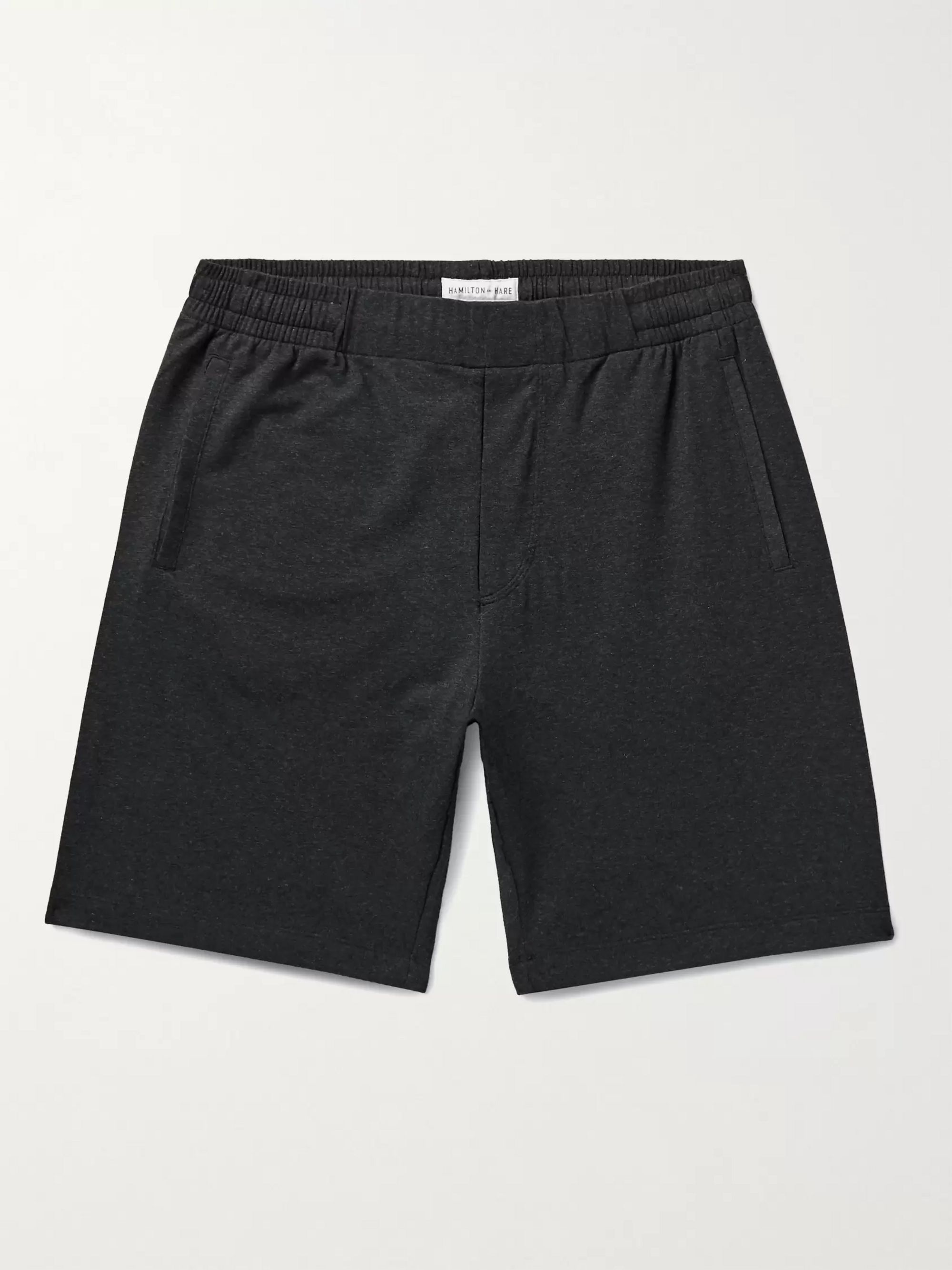 HAMILTON AND HARE Mélange Stretch-Lyocell and Cotton-Blend Pyjama Shorts