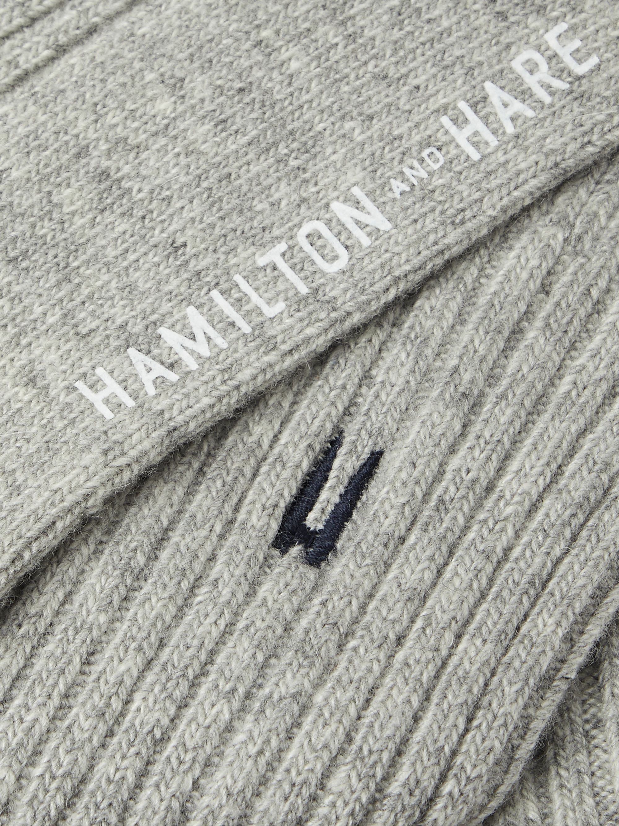 HAMILTON AND HARE Lounge Logo-Embroidered Mélange Ribbed-Knit Socks