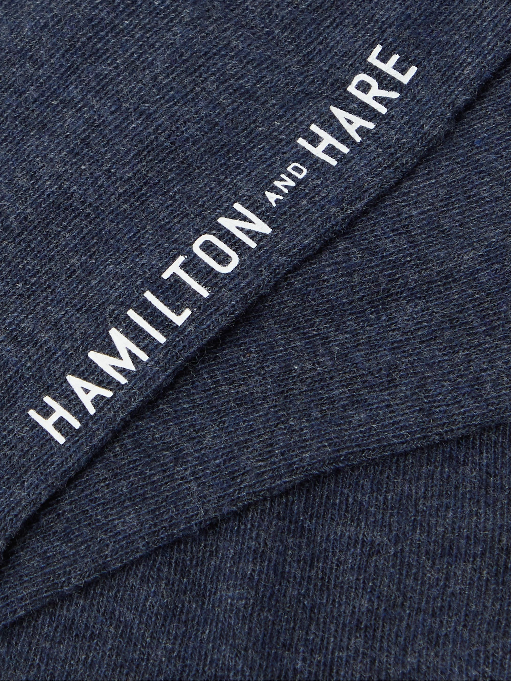 HAMILTON AND HARE Everyday Logo-Embroidered Mélange Cotton Socks