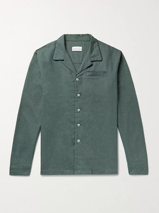 HAMILTON AND HARE Brushed Cotton-Flannel Pyjama Shirt