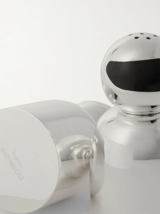 Asprey Bobsleigh Sterling Silver Salt and Pepper Shakers