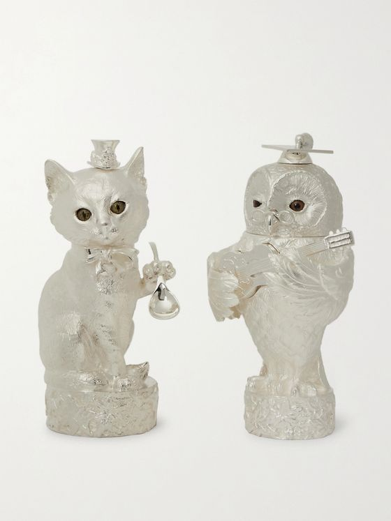 Asprey Owl & Pussycat Sterling Silver Salt and Pepper Shakers