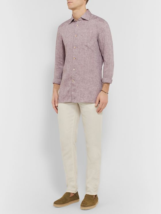 KITON Slim-Fit Mélange Linen Shirt