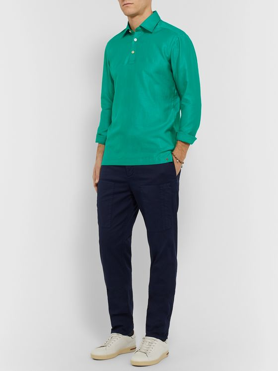KITON Slim-Fit Cotton and Linen-Blend Half-Placket Shirt