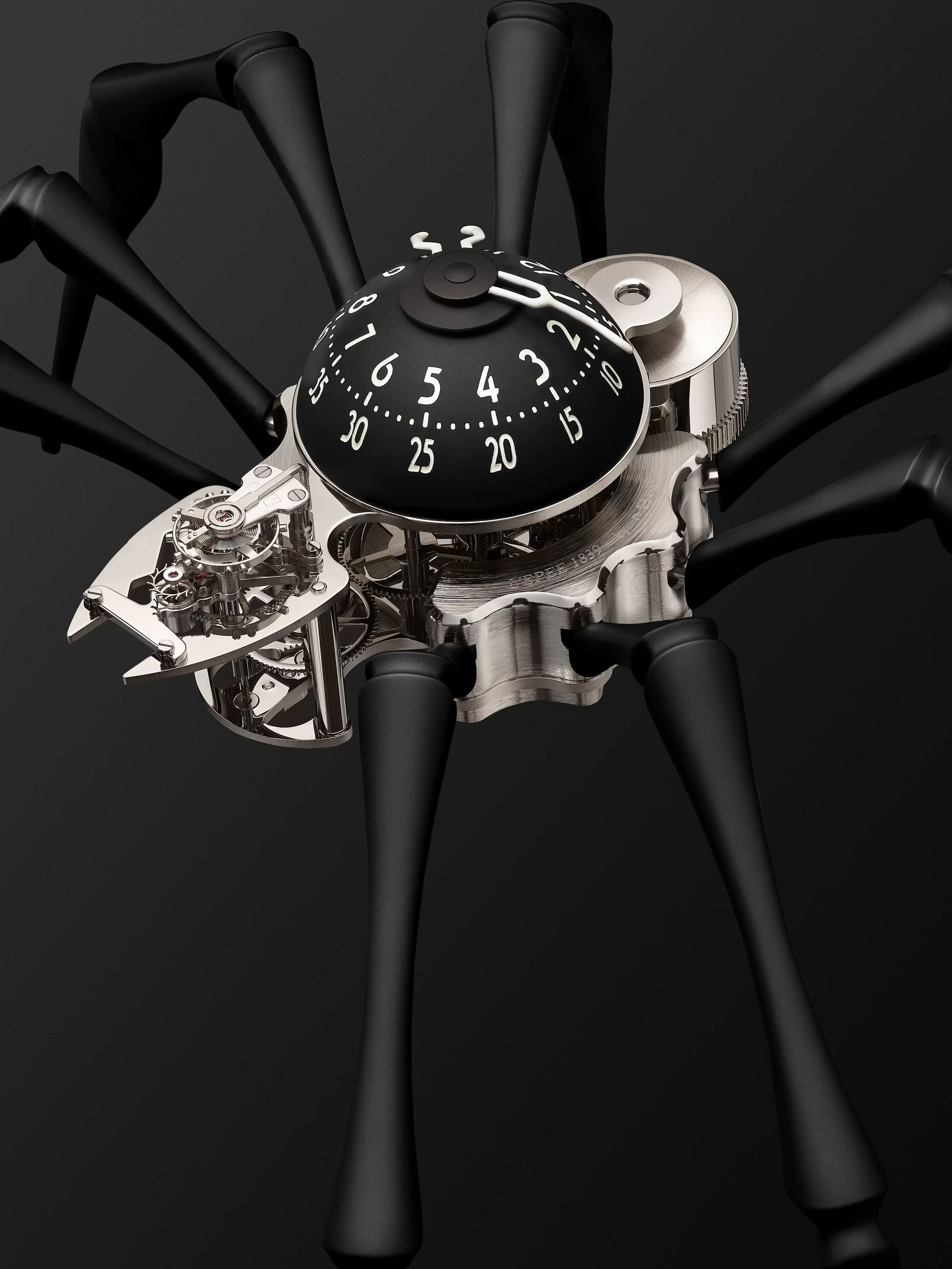 MB&F Arachnophobia Limited Edition Hand-Wound Palladium-Plated Brass and Coated-Aluminium Table Clock, Ref. No. 76.6000/114
