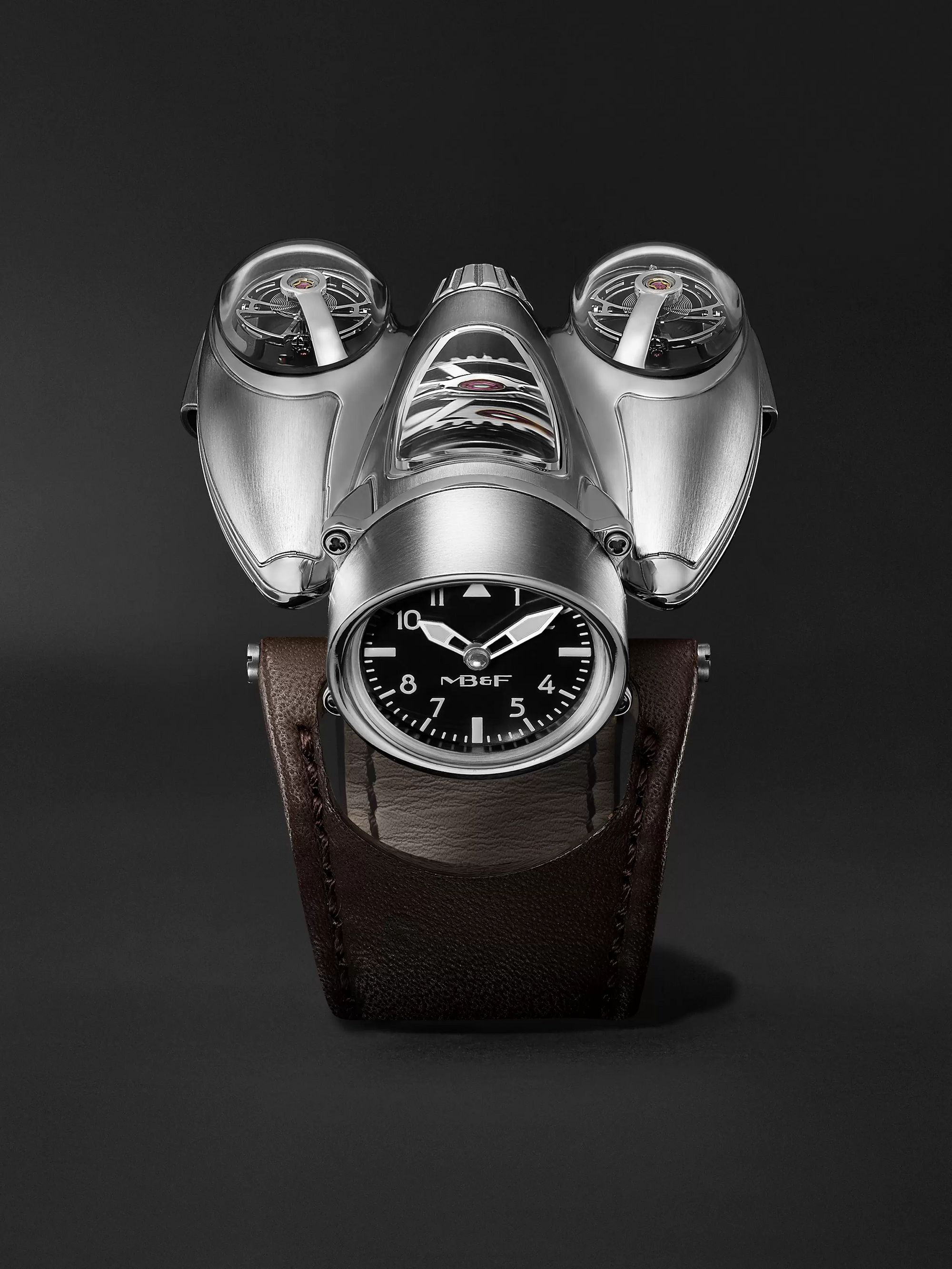 MB&F HM9 Flow Air Limited Edition Hand-Wound 57mm Titanium and Leather Watch
