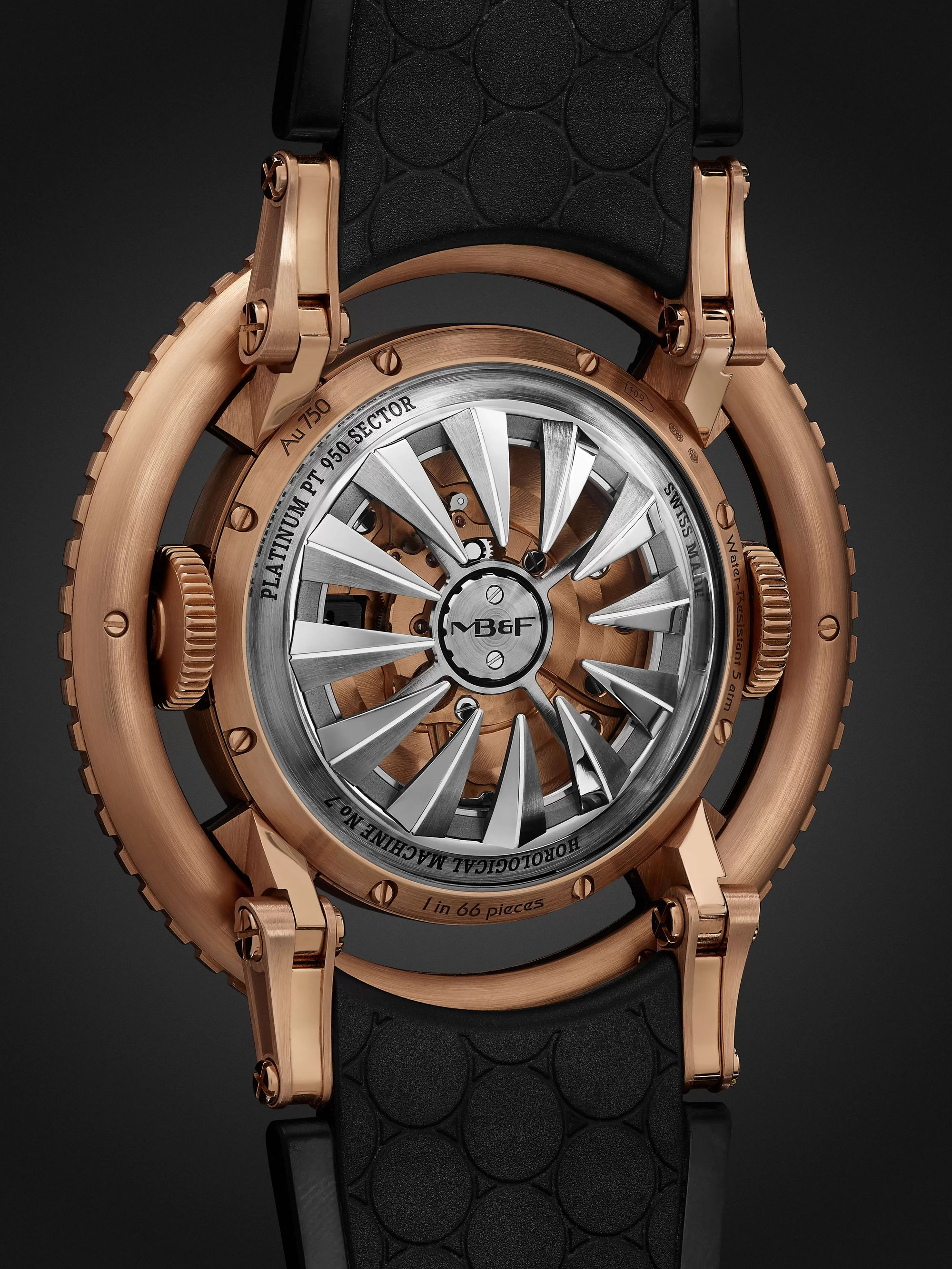 MB&F HM7 Aquapod Limited Edition Automatic 53.8mm 18-Karat Rose Gold and Rubber Watch