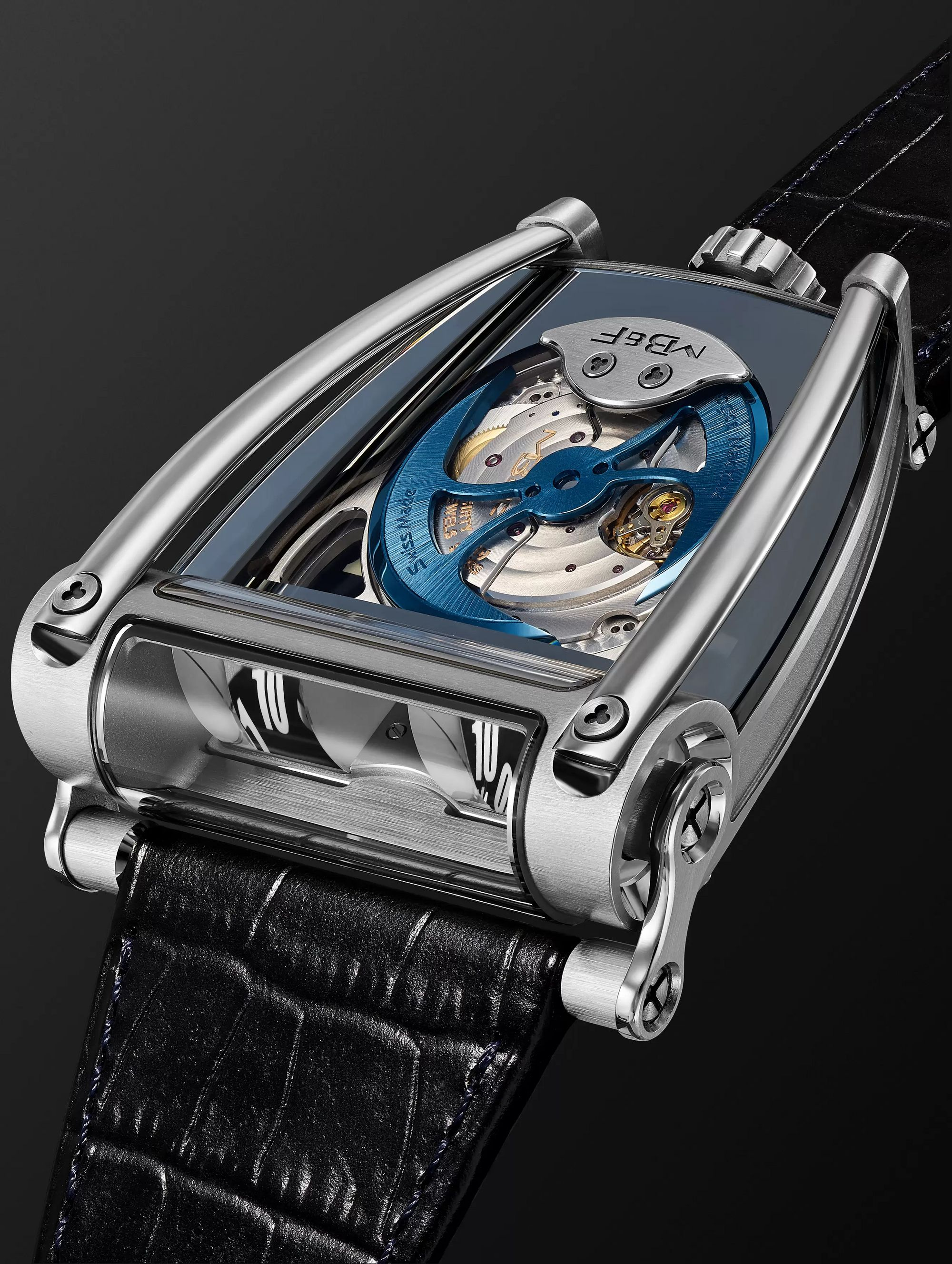 MB&F HM8 Can-Am Automatic 51.5mm White Gold, Titanium and Croc-Effect Leather Watch
