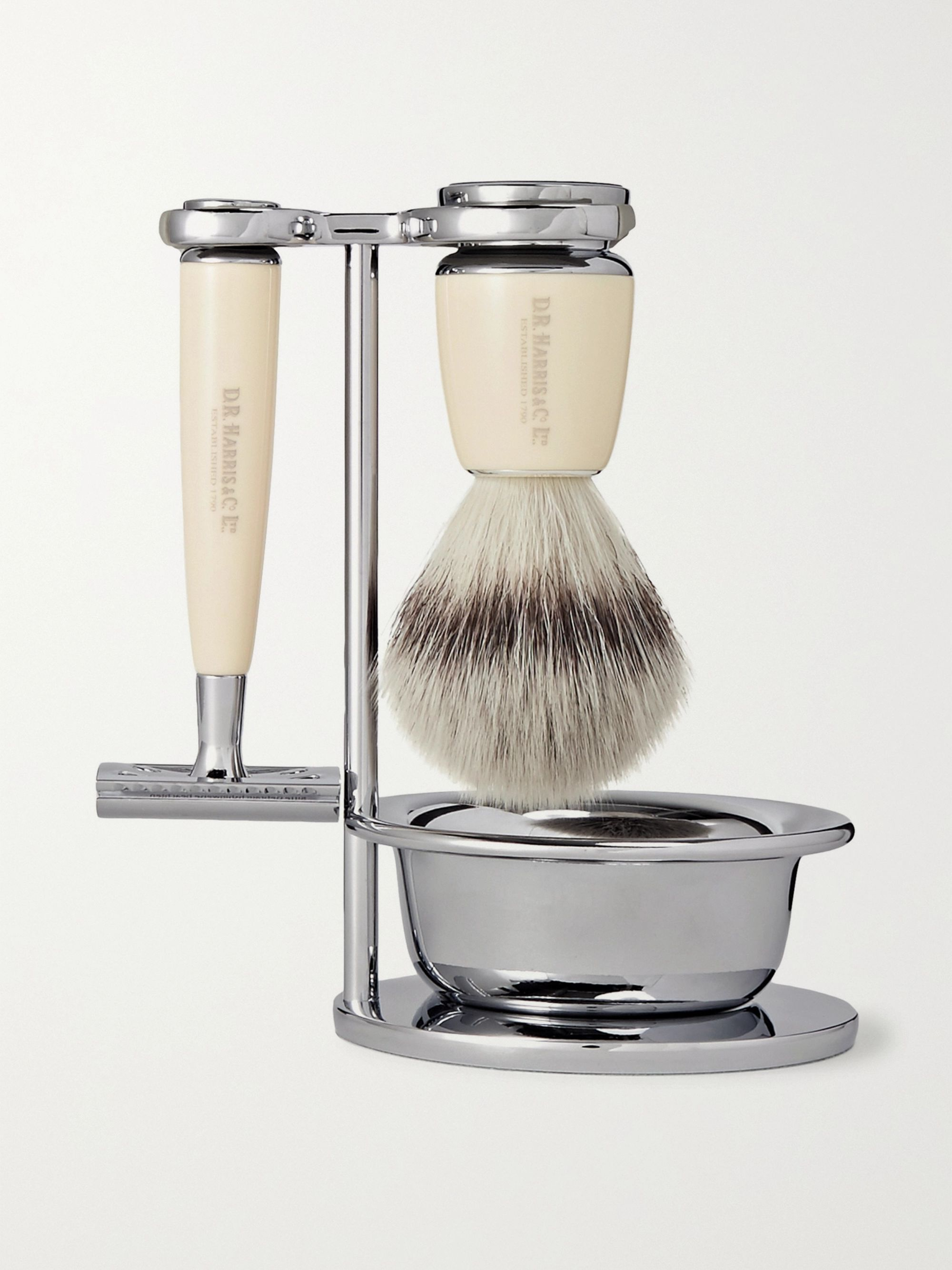D R Harris Safety Chrome and Resin Four-Piece Shaving Set