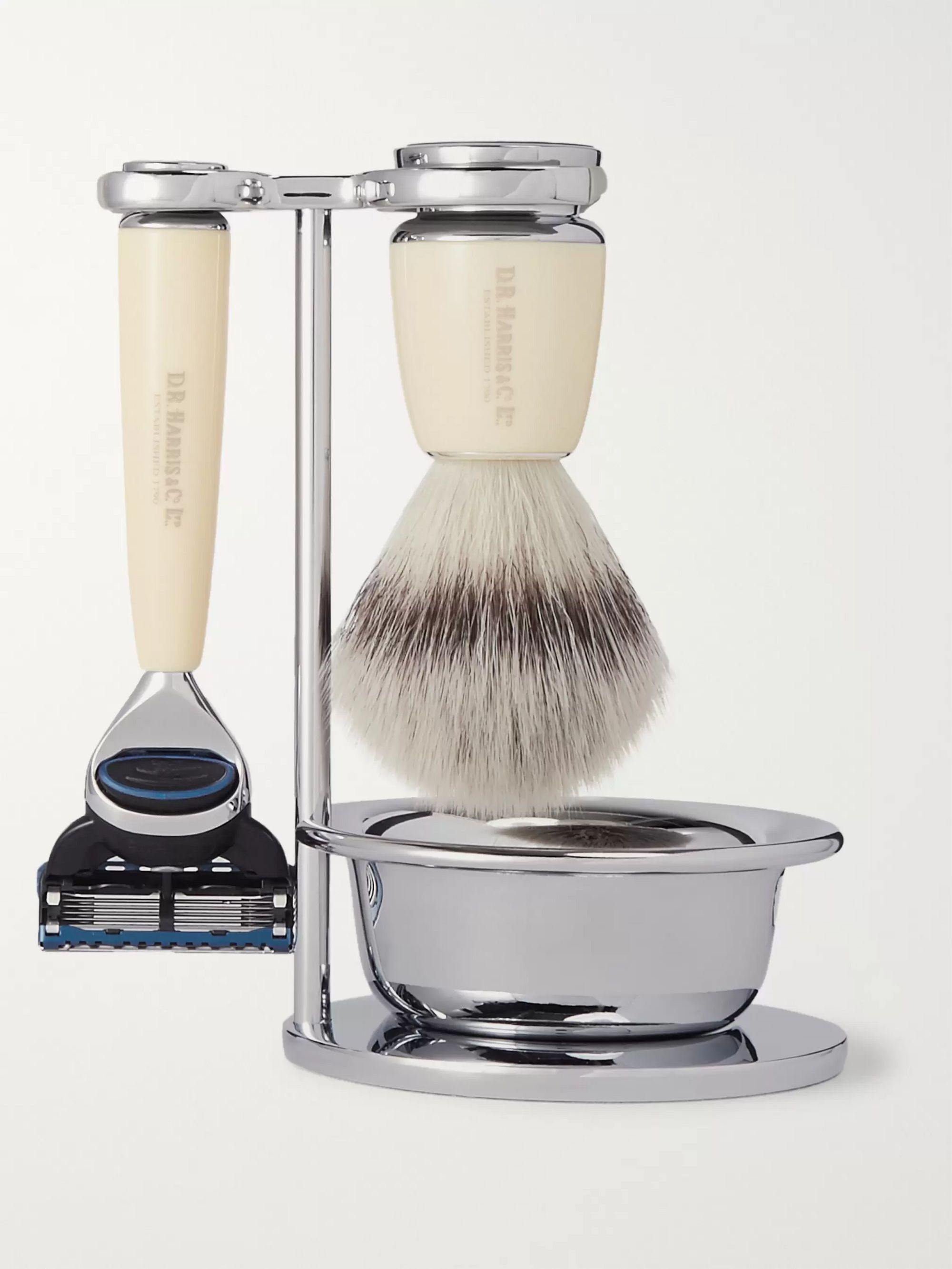 D R Harris Fusion Chrome and Resin Four-Piece Shaving Set