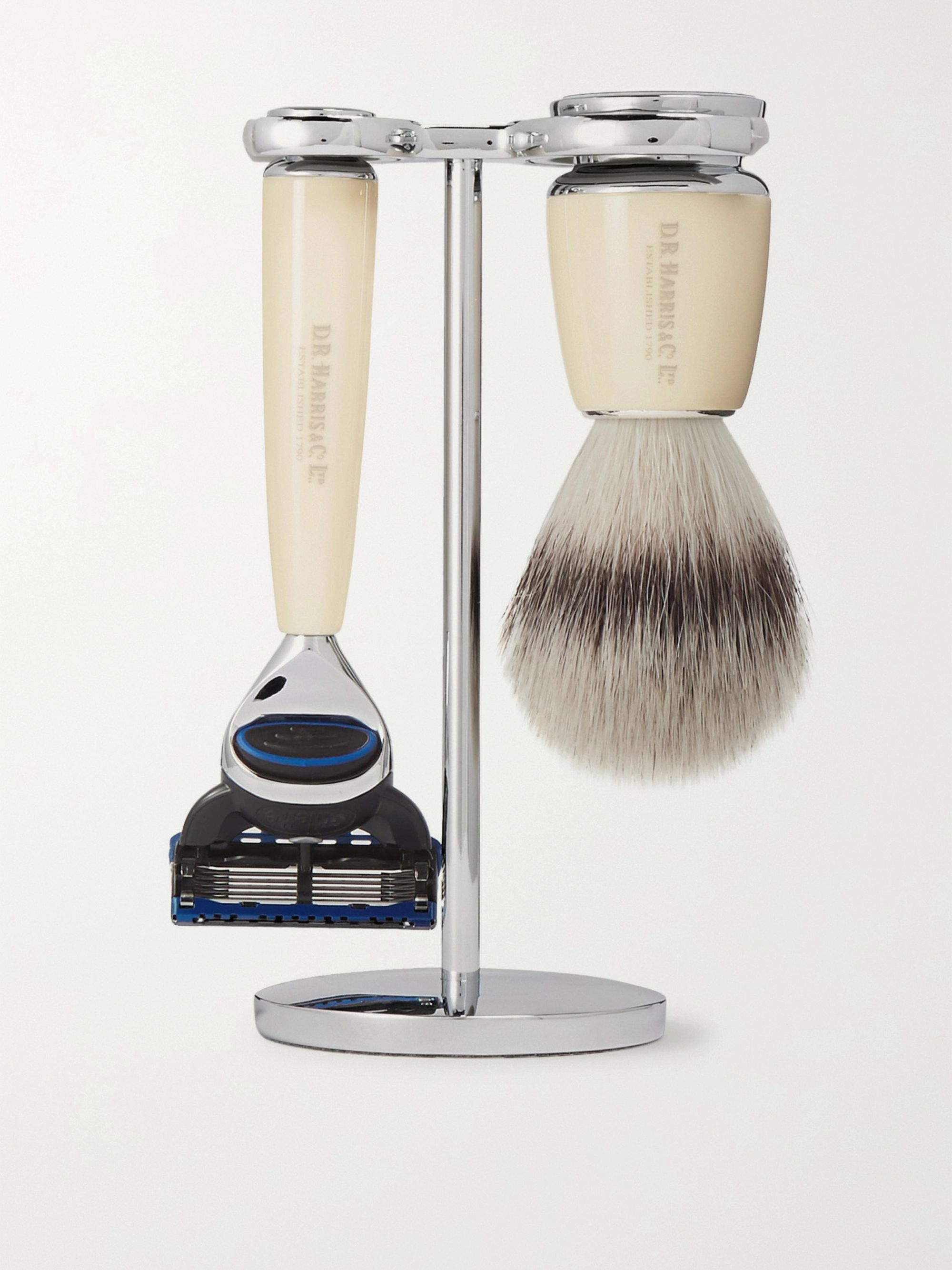 D R Harris Fusion Chrome and Resin Three-Piece Shaving Set