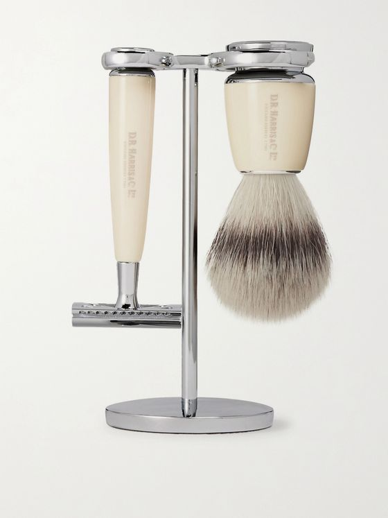 D R Harris Safety Chrome and Resin Three-Piece Shaving Set