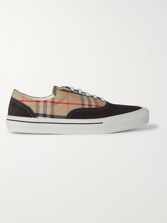 Burberry Suede and Checked-Cotton Sneakers