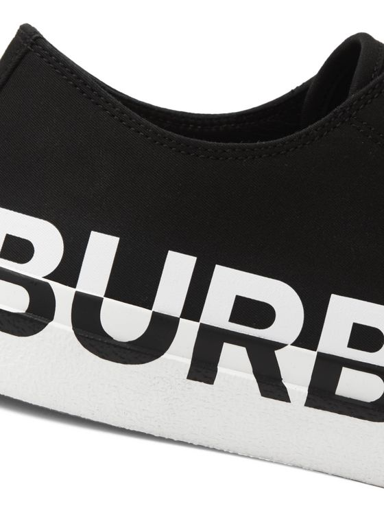 Burberry Logo-Print Two-Tone Rubber-Trimmed Cotton-Gabardine Sneakers