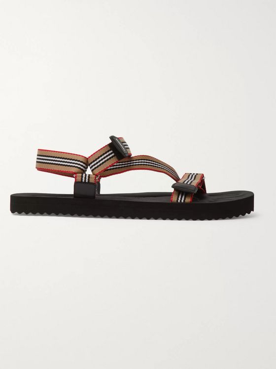 BURBERRY Striped Webbing and Rubber Sandals