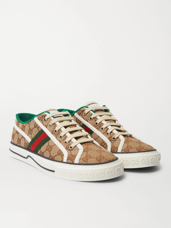 Gucci Mignon Webbing-Trimmed Jacquard Sneakers