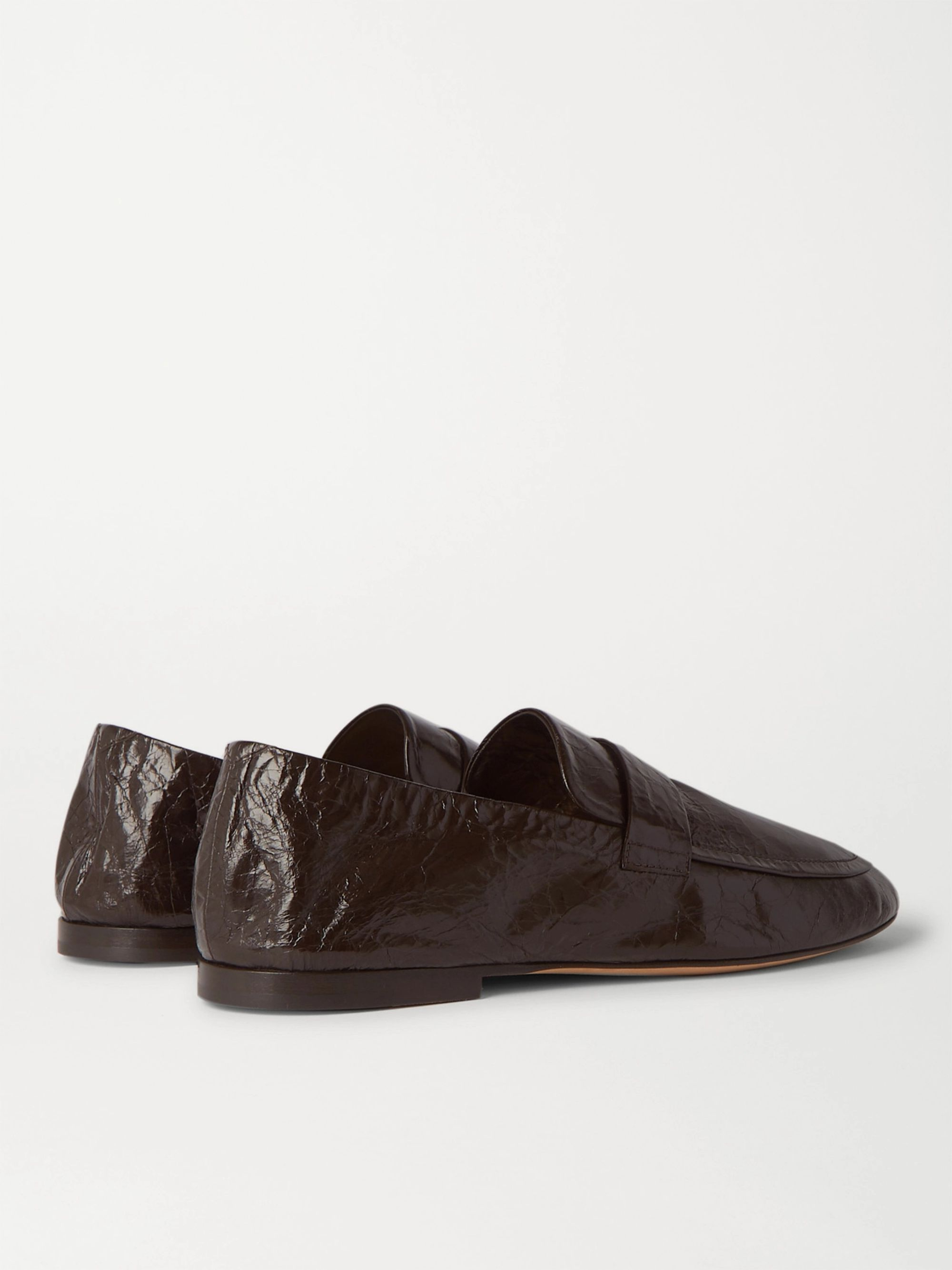 Bottega Veneta Crinkled-Leather Loafers