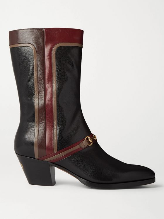 Gucci Horsebit Colour-Block Leather Boots
