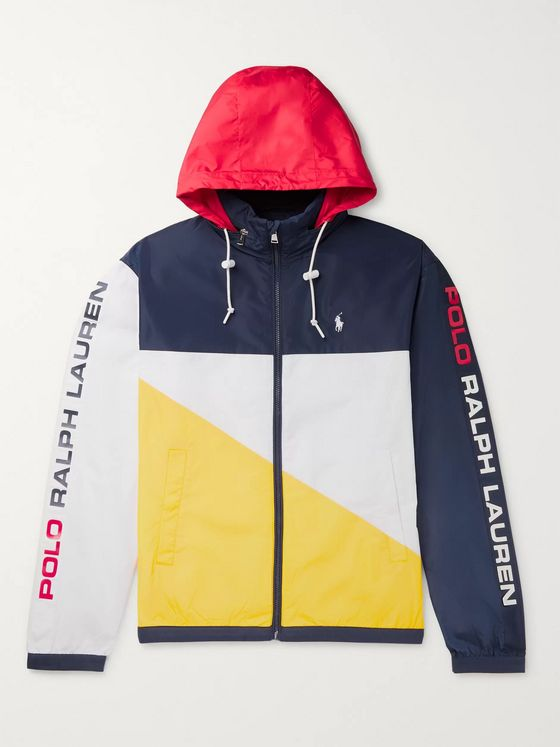 POLO RALPH LAUREN Logo-Print Colour-Block Shell Hooded Jacket