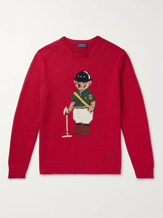 Polo Ralph Lauren Bear-Intarsia Cotton and Linen-Blend Sweater