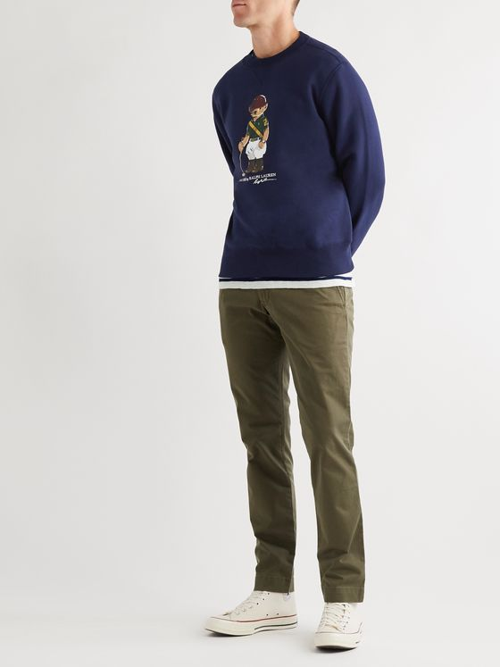 Polo Ralph Lauren Logo-Print Fleece-Back Cotton-Blend Jersey Sweater