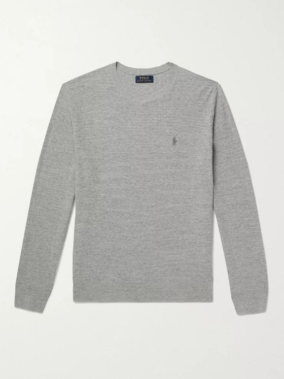 POLO RALPH LAUREN Mélange Cotton and Linen-Blend Sweater