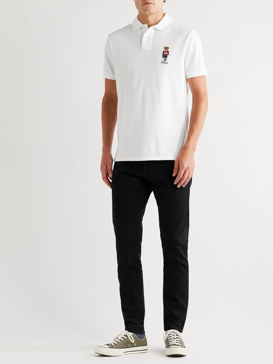 Polo Ralph Lauren Appliquéd Cotton-Piqué Polo Shirt