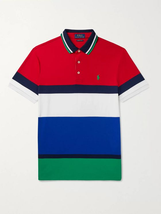 POLO RALPH LAUREN Slim-Fit Colour-Block Cotton-Jersey Polo Shirt
