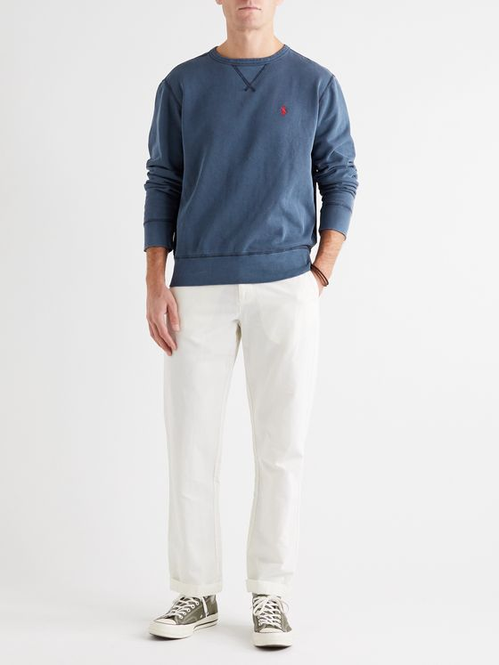 POLO RALPH LAUREN Garment-Dyed Fleece-Back Cotton-Blend Jersey Sweatshirt
