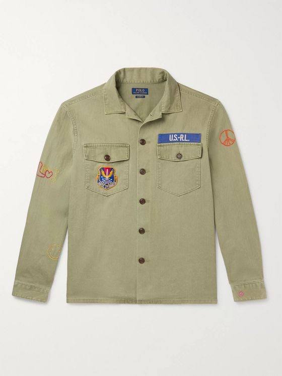 Polo Ralph Lauren Appliquéd Embroidered Herringbone Cotton Overshirt