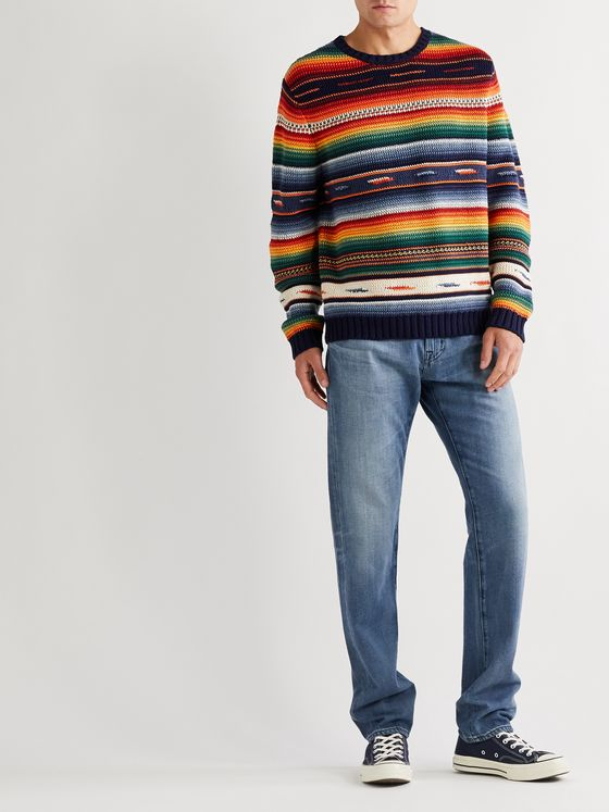 Polo Ralph Lauren Striped Cotton and Linen-Blend Sweater
