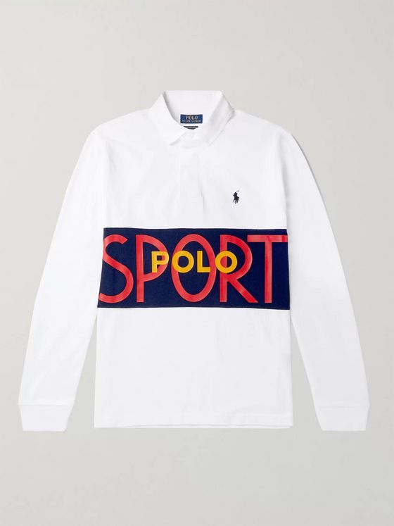 POLO RALPH LAUREN Logo-Print Colour-Block Cotton-Jersey Rugby Shirt