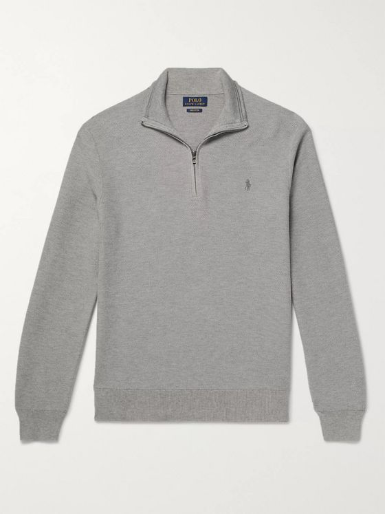 Polo Ralph Lauren Waffle-Knit Pima Cotton Half-Zip Sweater