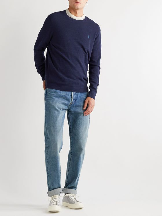 POLO RALPH LAUREN Cotton and Linen-Blend Sweater