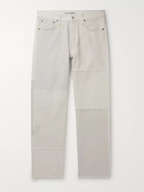 ACNE STUDIOS Two-Tone Distressed Denim Jeans