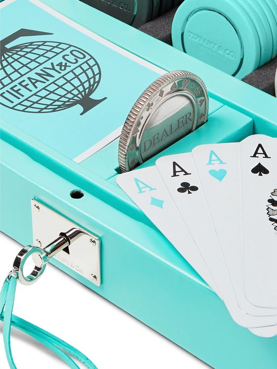 Tiffany & Co. Everyday Objects Sterling Silver, Porcelain and Leather Poker Set