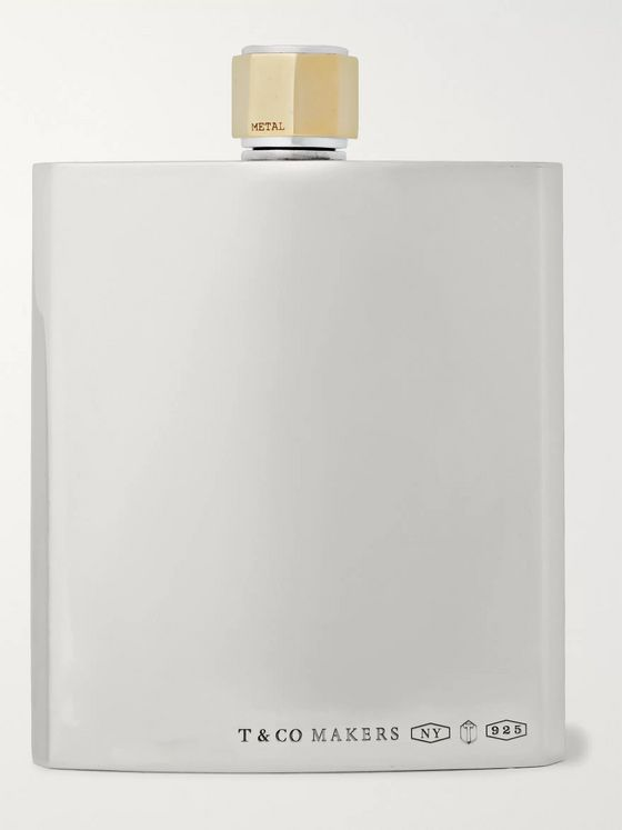 Tiffany & Co. Tiffany 1837 Makers Sterling Silver and Brass Flask
