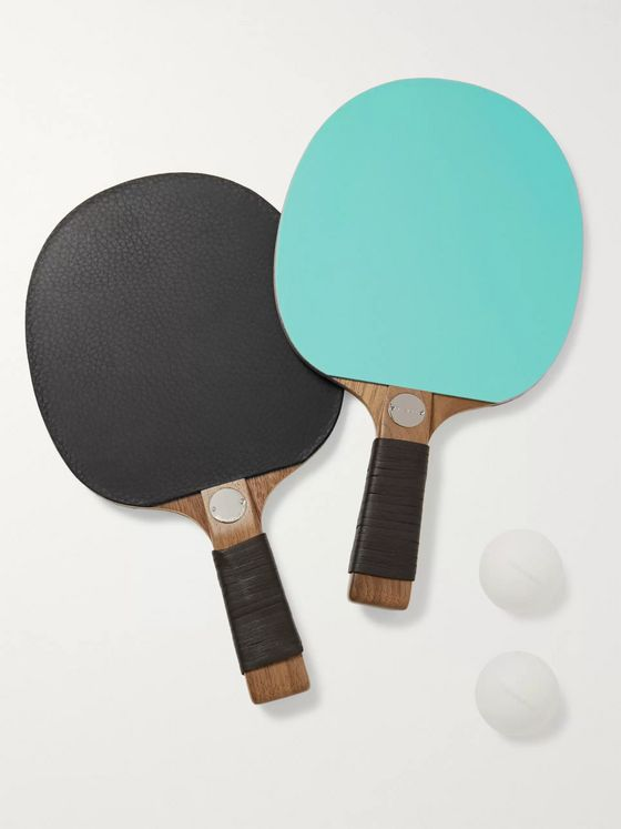 Tiffany & Co. Everyday Objects Walnut, Full-Grain Leather and Sterling Silver Table Tennis Set