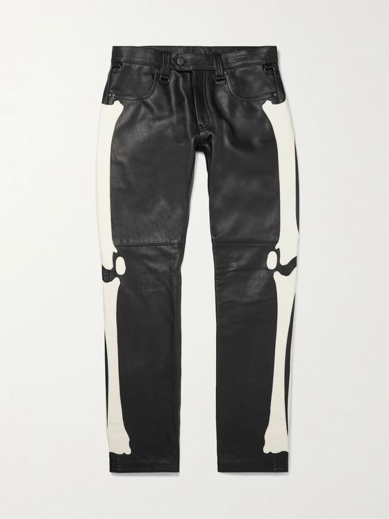 Blackmeans Slim-Fit Appliquéd Leather Trousers