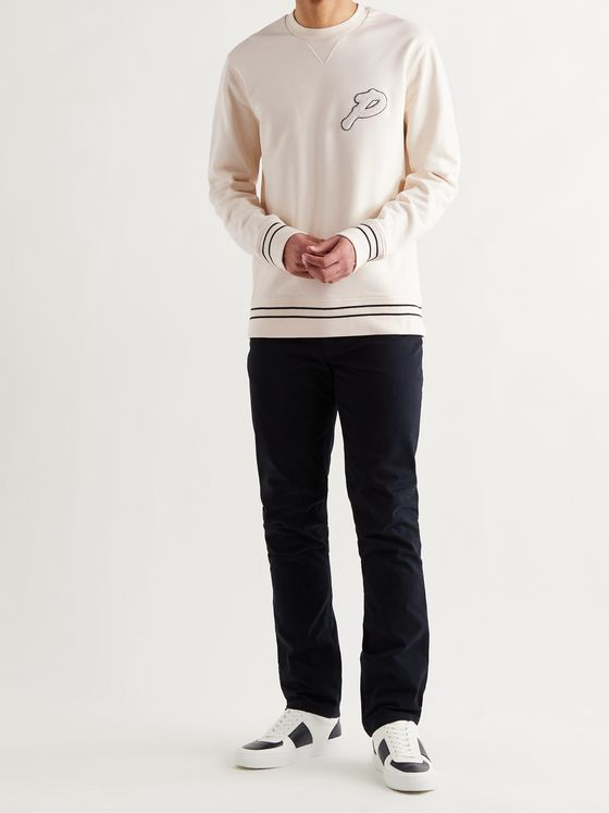 MR P. Logo-Appliquéd Stripe-Trimmed Cotton-Jersey Golf Sweatshirt