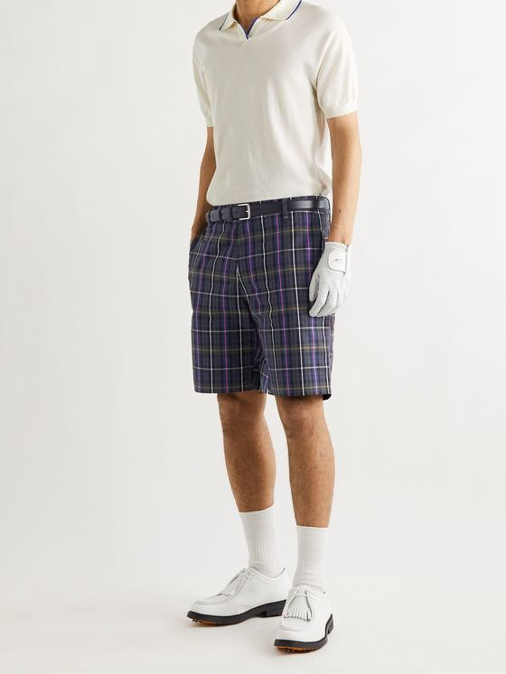 MR P. Checked Cotton-Poplin Golf Shorts
