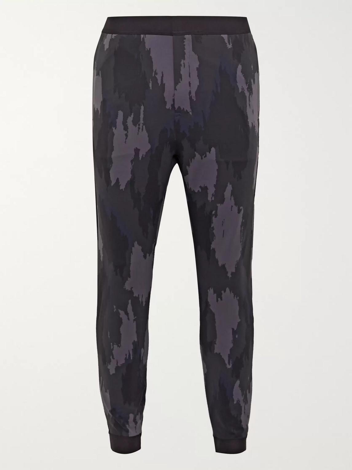 lululemon - robert geller take the moment slim-fit tapered printed full-on luon sweatpants - men - gray