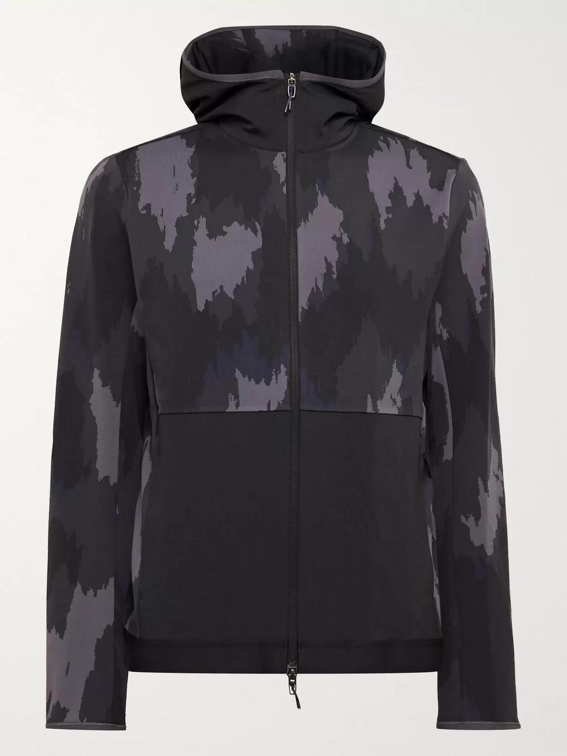 lululemon - robert geller take the moment printed full-on luon zip-up hoodie - men - gray