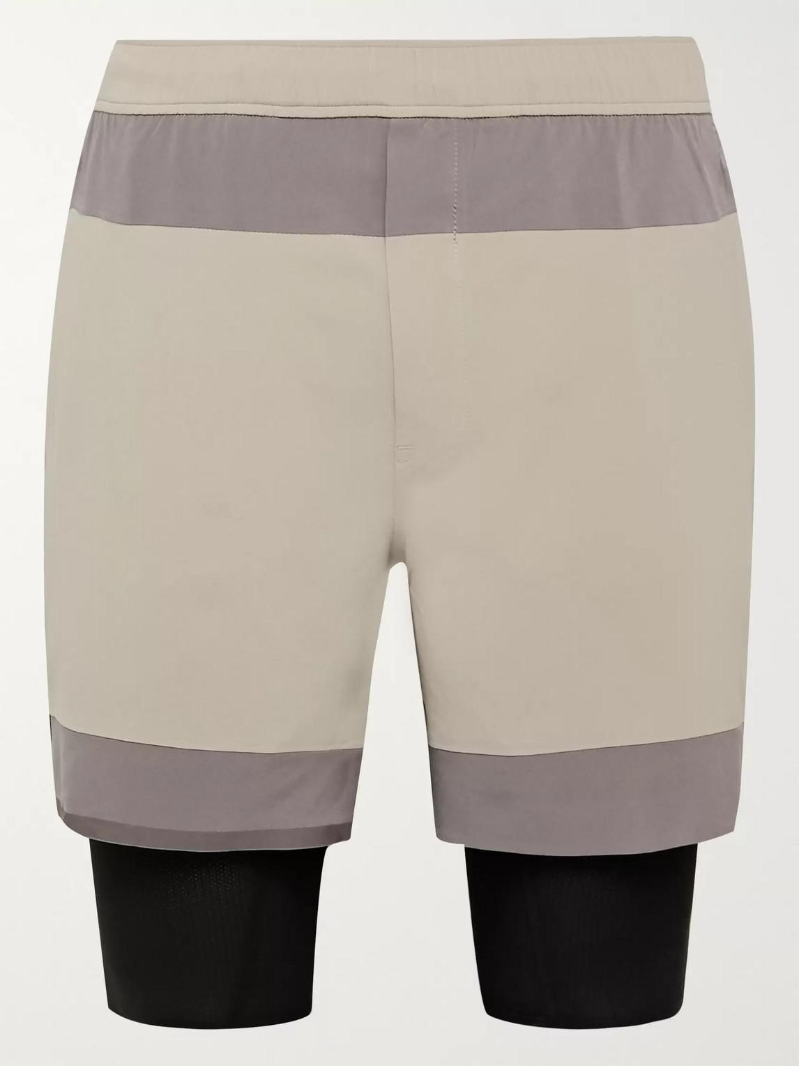 lululemon - robert geller take the moment colour-block swift shorts - men - gray