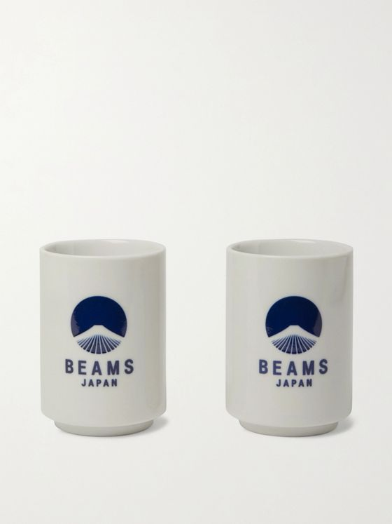 BY JAPAN + Beams Japan Set of Two Logo-Print Ceramic Cups