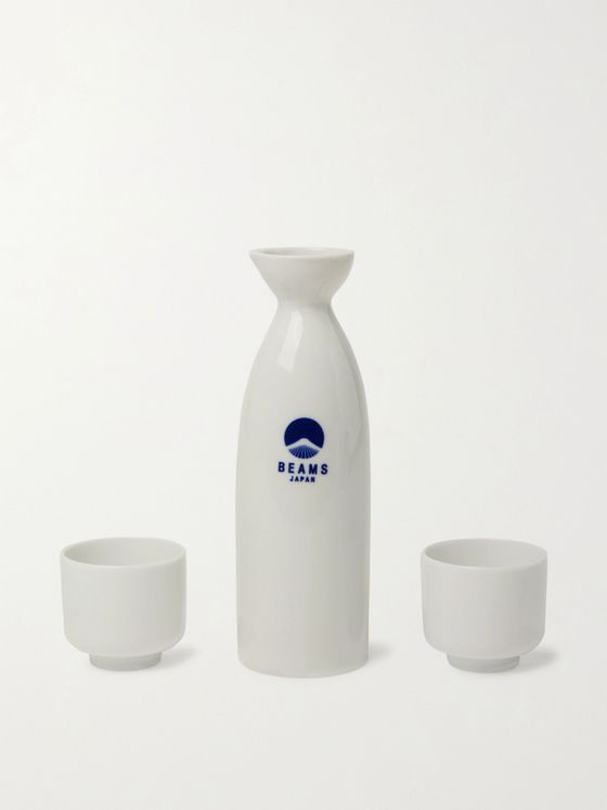 BY JAPAN + Beams Logo-Print Ceramic Sake Set
