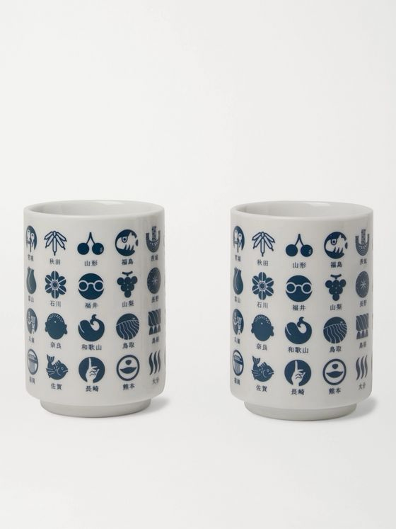 BY JAPAN + Beams Japan Set of Two Todofuken Printed Ceramic Cups